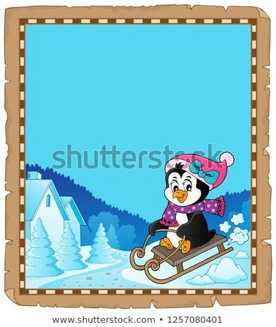 Szánkózás pingvin pergamen papír boldog természet Stock fotó © clairev