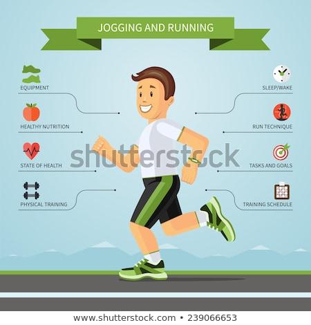 cartoon boy running on treadmill stock photo © jossdiim