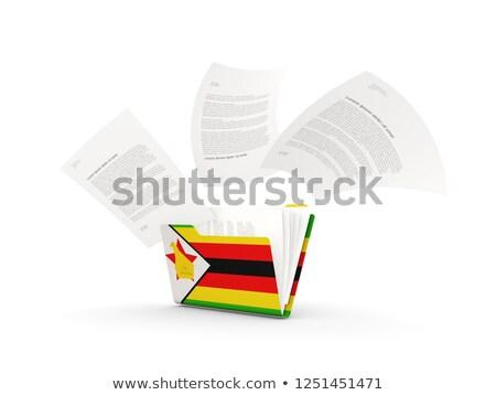 Map vlag Zimbabwe bestanden geïsoleerd witte Stockfoto © MikhailMishchenko
