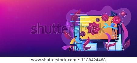 Hát befejezés fejlesztés emberek alkalmazás nagy Stock fotó © RAStudio