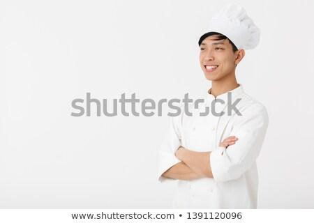Gut aussehend jungen Küchenchef isoliert weiß Kochen Stock foto © deandrobot