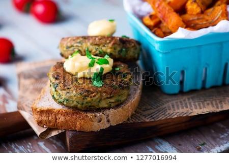 Тофу Burger Sweet картофель избирательный подход сэндвич Сток-фото © zoryanchik
