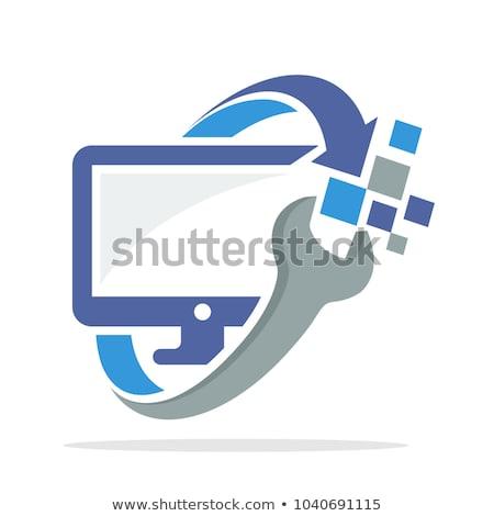 Foto stock: Quebrado · monitor · reparação · de · computadores · logotipo · vetor · ícone