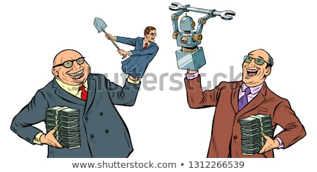 People against robots war for the workplace. Manipulation of politicians isolate on white background Stock photo © studiostoks
