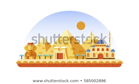 travel to egypt   colorful flat design style illustration stock photo © decorwithme
