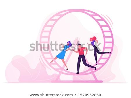 Mujer de negocios ejecutando dentro rata rueda vector Foto stock © pikepicture