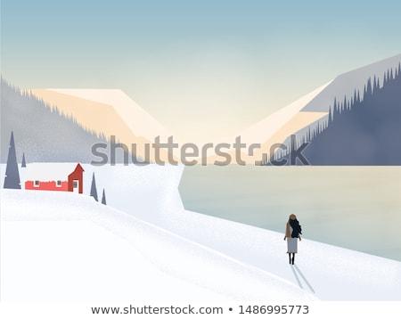 Foto stock: Woman Walking Outdoor On Snowing Hills Vector