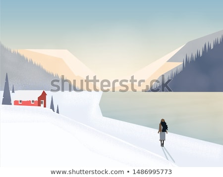 Foto stock: Mujer · caminando · aire · libre · colinas · vector