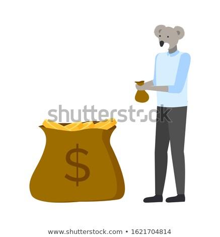 Foto stock: Koala Hipster Animal with Money in Bag Profit