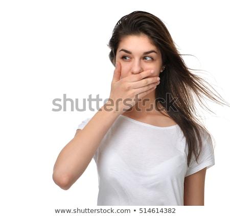 Paura donna bocca tranquillo isolato grigio Foto d'archivio © ichiosea
