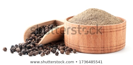 Noir poivrons bois bol blanche alimentaire Photo stock © bdspn