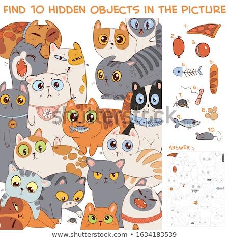 differences task with cartoon cat characters group stock photo © izakowski