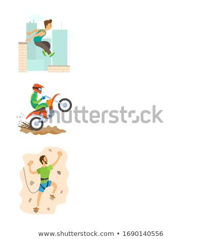 doğa · sporları · poster · motosiklet · aşırı · spor · vektör - stok fotoğraf © robuart