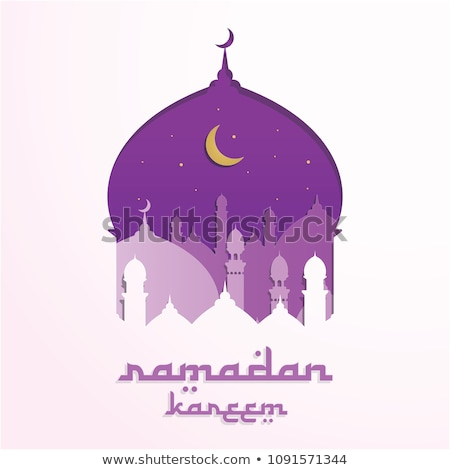 beautiful purple moon and mosque eid festival greeting Stock photo © SArts