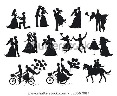 yeni · evliler · gelin · damat · afiş · uzun - stok fotoğraf © urchenkojulia