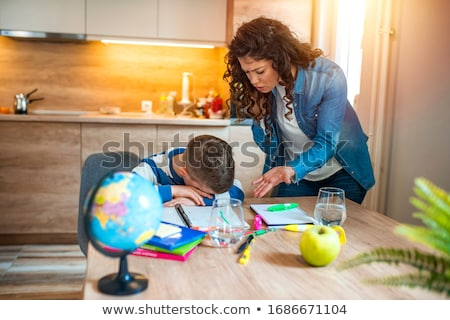 Сток-фото: мамы · сын · домашнее · задание · небольшой · молодые · матери
