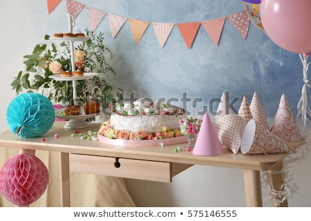 Table served for home birthday party for kids Stock photo © pressmaster