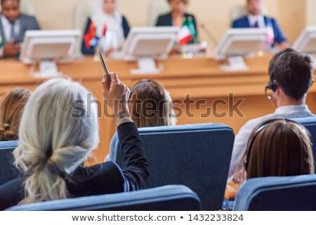 Hátulnézet közönség kezek kérdez kérdések hangszóró Stock fotó © pressmaster