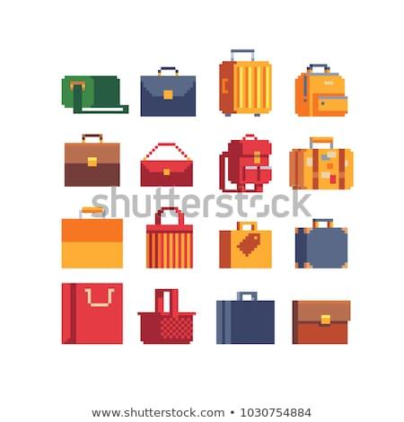Alışveriş çantası bit video oyunu sanat ikon piksel Stok fotoğraf © Krisdog