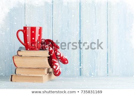 Stok fotoğraf: Kitap · fincan · kahve · sıcak · çikolata · kar · Noel