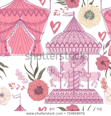 carousel with pony pink horses attraction vector stock photo © robuart