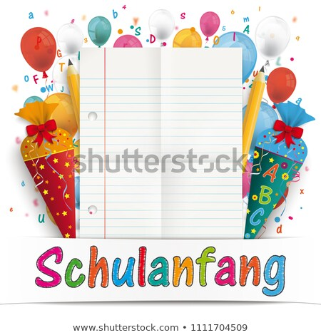 Confetti Balloons Letters Pencil Candy Cone Schulanfang Stock photo © limbi007