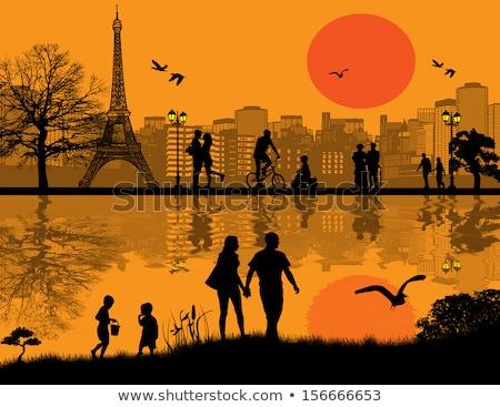 Randizás szerelmespár város park pár séta Stock fotó © robuart