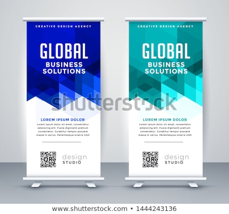 stylish blue modern rollup banner set stock photo © sarts