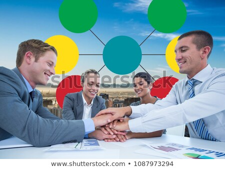 Group meeting and Colorful mind map over city background Stock photo © wavebreak_media