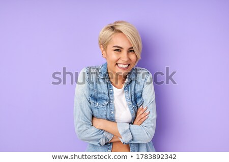 Woman portrait in face. Young attractive girl with a short haircut. Outline icon. Vector illustratio Stock photo © ESSL