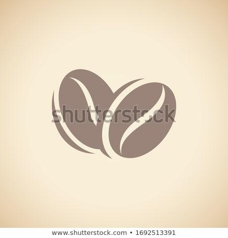 Siyah kahve fasulye ikon yalıtılmış bej vektör Stok fotoğraf © cidepix