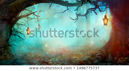 ijesztő · sötét · erdő · illusztráció · jelenet · éjszaka - stock fotó © mythja