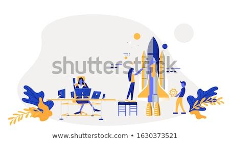 Colaboração empresários aperto de mão laptops megafone comunicação Foto stock © RAStudio