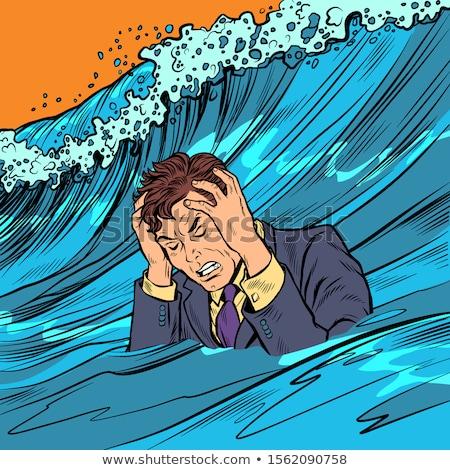 The man panics. Big wave stress Stock photo © studiostoks