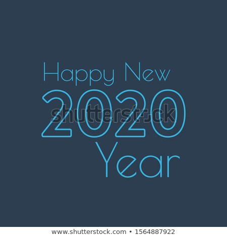 Happy New Year 2020 celebration lineart banner template Stock photo © Decorwithme