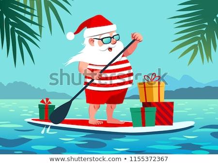 Сток-фото: Fun Santa Claus Cartoon On Surf Beach And Palm Tree