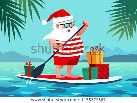 Amusement cartoon surf plage palmier Photo stock © doomko