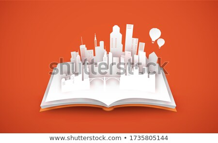 3D papercut city skyline isolated white background Stock photo © cienpies