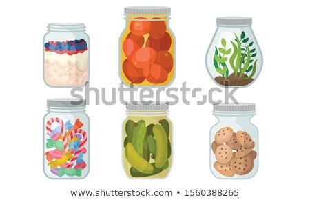 üveg edény cukorka színes izolált fehér Stock fotó © ivonnewierink