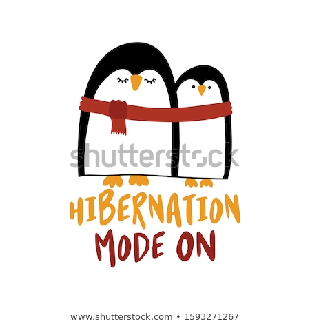 Hibernation mode ON - Two cute penguins with one red scarf. Stock photo © Zsuskaa