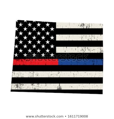Wyoming policji strażak wsparcia banderą amerykańską flagę Zdjęcia stock © enterlinedesign
