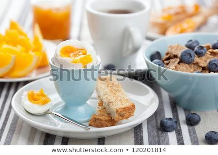 オートミール 果物 ゆで卵 健康 朝食 食品 ストックフォト © furmanphoto