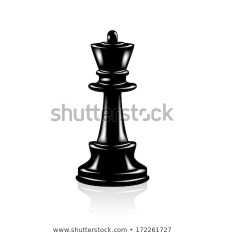 Black wooden chess piece queen, vector illustration. Stock photo © kup1984
