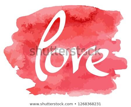 Kéz szó szeretet vízfesték utánzás szín Stock fotó © ColorHaze