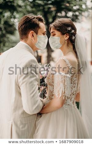 Menyasszony vőlegény esküvő nap sétál kint Stock fotó © ruslanshramko