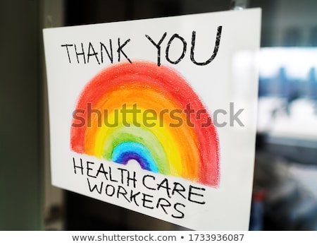 Köszönjük egészségügy munkások szivárvány rajz felirat Stock fotó © Maridav