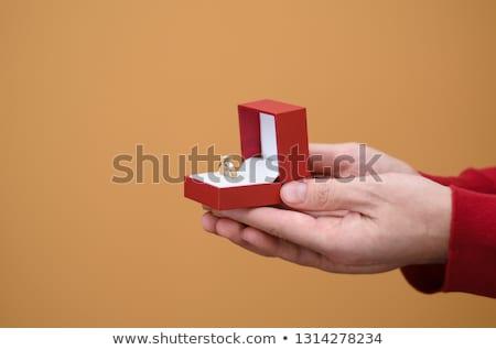 Elmas yüzük kırmızı mücevher kutu düğün Stok fotoğraf © stoonn