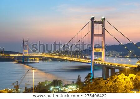 Beautiful night scenes of Tsing Ma Bridge in Hong Kong.  Stock photo © cozyta
