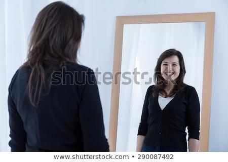Kadın ayna makyaj göz seksi Stok fotoğraf © dayzeren