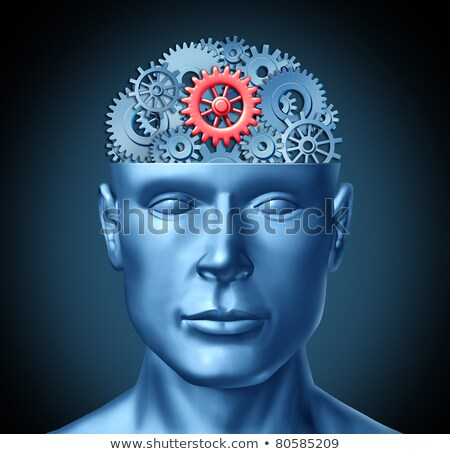 Stock photo: Human intelligence and brain function represented by gears in th